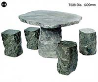 Polished Jade Table + 4 Seats