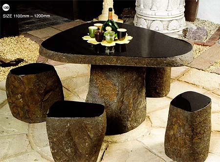 Black Granite Table + 4 Seats