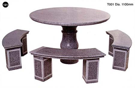 Grey Granite Table + 3 Benches